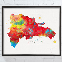 Dominican Republic Map, Dominican Republic Wall Art, Map Poster, Travel Art, Watercolor Map, Countries, Travel Gifts, Map Wall Decor, Framed