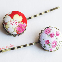 2 Romantic Pink Red button bobby pins flower hair clips Fabric hair pin Barrette hair Jewelry Floral Spring hairstyles hair accessory