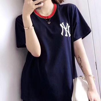 NY MLB Fashionable Women Men Casual Embroidery Short Sleeve T-Shirt Top Blouse