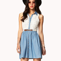 Crocheted Shirt Dress w/ Belt