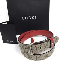 BN Authentic GUCCI Men's Reversible Red Leather and GG Supreme Belt. Made Italy.