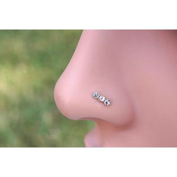 14kt Rose Gold Triple Crystal Nose Bone Stud L Bend