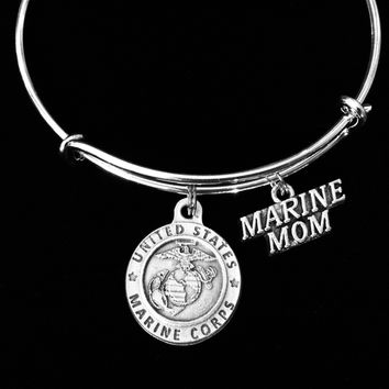 Marine Mom Jewelry Saint Christopher Protection Patron Saint of Travelers Silver Expandable Charm Bracelet Adjustable Silver Bangle One Size Fits All