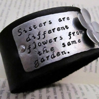 Hand Stamped Bracelet Leather and Aluminum by FiredUpLadiesHammer