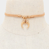Beige Suede Leather Gold Double Horn Charm Beaded Choker Necklace