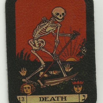 Leather DEATH TAROT CARD Skeleton Biker Patch
