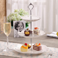 3 Layers Cake Stand 3 Tier Stainless Steel Silver Cake Plate Stand(Plate Not Include ) Cupcake Display Trays Stand