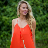 Racer-Back Shift Dress in Orange