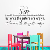 Wall Decal Quote Family Sisters Design Wall Decals Bedroom Living Room Dorm Kids Vinyl Stickers Home Decor 3960