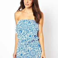 ASOS Floral China Print Bandeau Jersey Beach Playsuit
