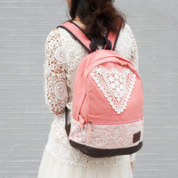 Navy Blue Backpack with Lace
