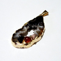 Geode Slice Druzy Agate Dipped Gold Teardrop Pendant, Drusy Druzzy Agate Hollow Center