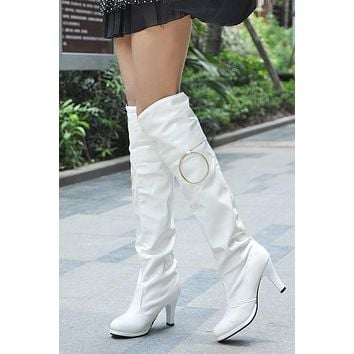 Patent Leather Pole Dancing Over the Knee Boots Spike Heel Wedding Shoes 7570