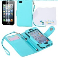 The Friendly Swede PU Leather Wallet Case Cover for iPhone 5 + Matching Stylus + Screen Protector + Cleaning Cloth in Retail Packaging (Light Blue):Amazon:Cell Phones & Accessories