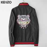 KENZO Fashion Casual Pattern Embroidery Zip Cardigan Jacket Coat Windbreaker