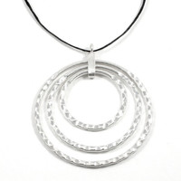 """Sterling Silver Pendant Necklace, 3 joined Rings Pendant,Circles Pendant,1.8"""" Large hoops pendant,Boho,Hammered semi-shiny Silver,Handmade"""