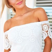 White Scallop Lace Off The Shoulder Short Sleeve Top