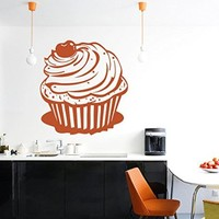 Wall Vinyl Sticker Decal Cupcake with a Cherry Nursery Room Nice Picture Decor Mural Hall Wall Ki651
