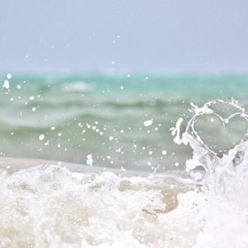 Beach Photography, Ocean Summer Prints, Ocean Photography, Romantic Heart, Nautical Home Decorations, 4x6 Prints