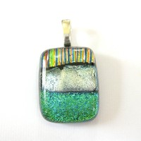 Small Dichroic Pendant, Handcrafted Jewelry, Artisan Jewelry - Nurture - 3827 - $17.00 - Handmade Jewelry, Crafts and Unique Gifts by MySassyGlass