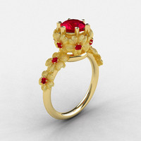 Natures Nouveau 18K Yellow Gold Ruby Flower Engagement Ring NN109S-18KYGRR