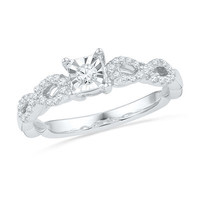 1/4 CT. T.W. Diamond Square Promise Ring in Sterling Silver - Save on Select Styles - Zales