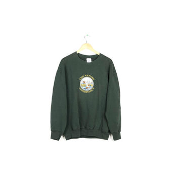 90s EMBROIDERED DUCK SWEATSHIRT / vintage 1990s sweater / nature conservancy / wildlife nature / ducks / basic / minimal / pullover / large