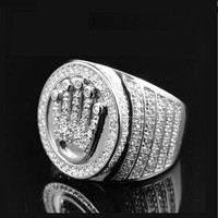 Luxury 2017 promotion gold silver color hip  hop bling Iced out mens crown micro pave cz bling big ring