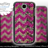 Camo Pink Chevron Galaxy S4 case S5 Real Tree Camo Deer Personalized Sparkle Samsung Galaxy S3 Case Note 2 3 Cover *Not Actual Glitter