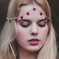 Red Heart Shape Crystal Drop Chain Hair Crown