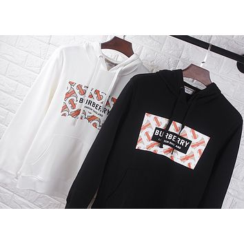BURBERRY Newest Fashion Men Women Casual Print Long Sleeve Hooded Top Sweater Sweatshirt