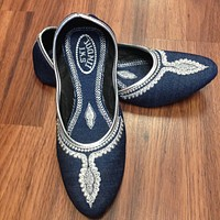 Denim Juti with Silver Embroidery