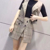 (2 Pcs) Autumn Winter 2016 Designer High Quality Plaid Casual Business Party Holiday Button Vest and Skirt Set