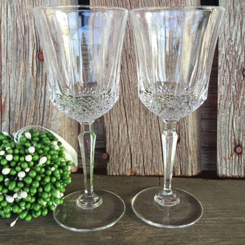 2 vintage lead crystal water goblets, 6 oz crystal wine glasses w/ prism stems, elegant vintage glassware, crystal wedding toasting glasses