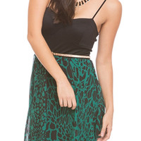 Giraffe Print Chiffon Dress - Green