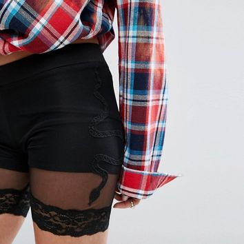 Sacred Hawk Mesh Layer Shorts With Snake Embroidery at asos.com