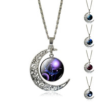 2016 New Hot Fashion Jewelry Choker Necklace Glass Galaxy Lovely necklaces & pendants Silver Chain Moon Necklace Free shipping