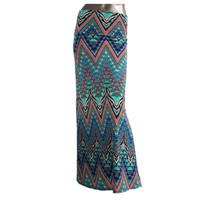 """""""Colorful Waves"""" Multi Colored Zig Zag Wave Maxi Skirt"""