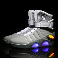 Future Warrior High Top Luminous Casual Men Shoes Led Glow In The Dark Lighting Footwear For Male Adults Plus Size SS1608039