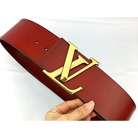 LV tide brand female retro personality wild letter buckle belt red