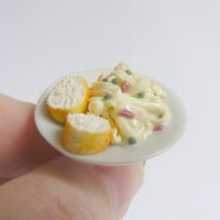 Scented or Unscented Pasta Carbonara Miniature Food Ring - Miniature Food Jewelry