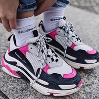 Balenciaga Fashion Women Personality Contrast Color Sport Running Shoe Couple Sneakers White Black Pink I