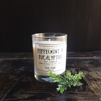 Peppermint & Eucalyptus Soy Candle   8 oz Candle in Glass Jar   winter candle, fresh herbal scent, autumn decor