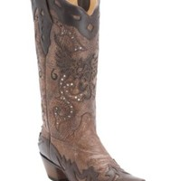 Corral® Ladies Brown w/ Chocolate Eagle Inlay and Wingtip Snip Toe Western Boots