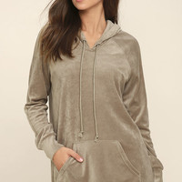 Melrose Taupe Velour Hooded Sweater Dress
