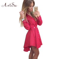 Preppy Style Women Summer Autumn Dress Sexy 3/4 Sleeve Red Plaid Print Office Shirt Cardigan Dresses Work Wear DR5985