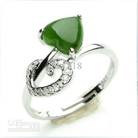 Genuine 925 silver inlaid Natural , and Tian Biyu ring / ring Spinach green