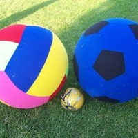 """New Huge 2 Giant Balls - Inflatable 30"""" Tall Soccer Ball and 30"""" Tall Volleyball Pair Indoor Outdoor Party Balls."""