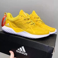 Adidas AlphaBounce HPC AMS New fashion reflective women men running shoes Yellow