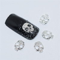 10psc New Silver skull 3D Nail Art Decorations,Alloy Nail Charms,Nails Rhinestones  Nail Supplies #067